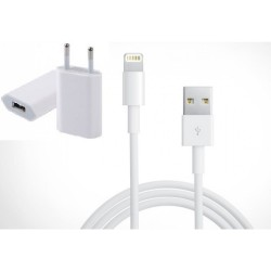 Pack: USB Cable Lightning + Adapter red Apple. iPhone 6/5/5S/5C